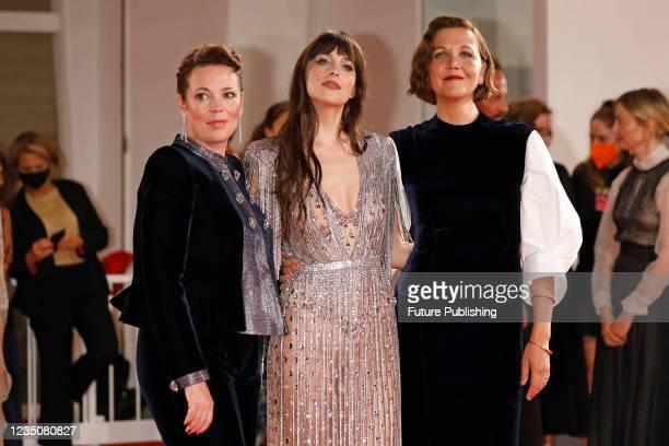 Olivia Colman, Dakota Johnson, Maggie Gyllenhaal arrives on the red carpet for 'The Lost Daughter' during the 78th Venice International Film Festival...