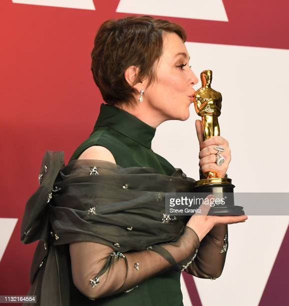 Olivia Colman poses at the 91st Annual Academy Awards at Hollywood and Highland on February 24, 2019 in Hollywood, California.