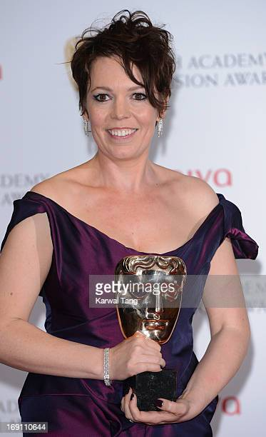 Olivia Colman poses in the press room at the Arqiva British Academy Television Awards 2013 at the Royal Festival Hall on May 12 2013 in London England