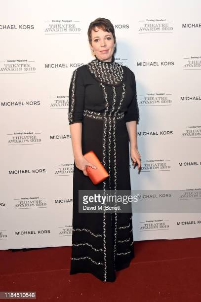 Olivia Colman poses in the winners room at the 65th Evening Standard Theatre Awards In Association With Michael Kors at London Coliseum on November...