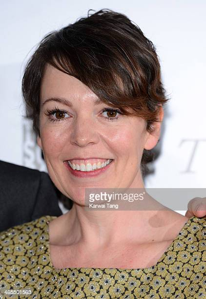 Olivia Colman poses in the winners room at the South Bank Sky Arts awards at Dorchester Hotel on January 27 2014 in London England