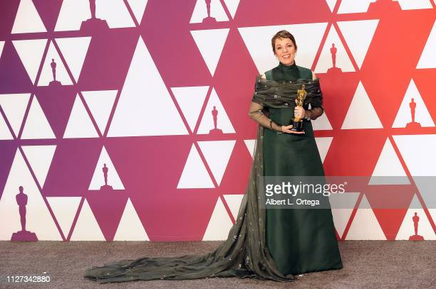 Olivia Coleman poses with her award for Best Actress inside the Press Room at the 91st Annual Academy Awards held at Hollywood and Highland on...