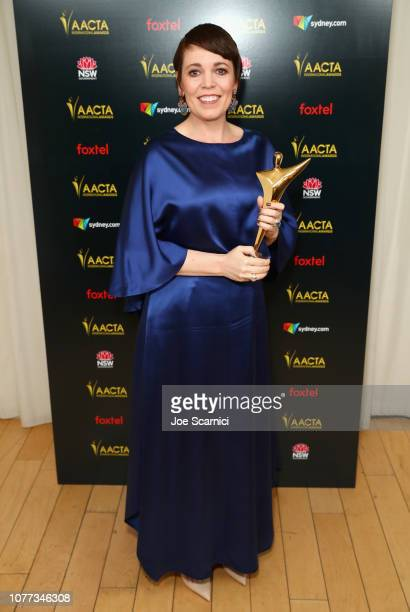 "Olivia Colman poses with the AACTA International Award for Best Lead Actress in the 8th AACTA International Awards "" Media Room on January 4 2019 in..."