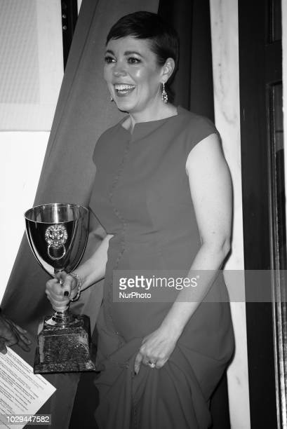 Image has been converted to black and white Olivia Colman poses with the Coppa Volpi for Best Actress Award for 'The Favourite' at the Winners...