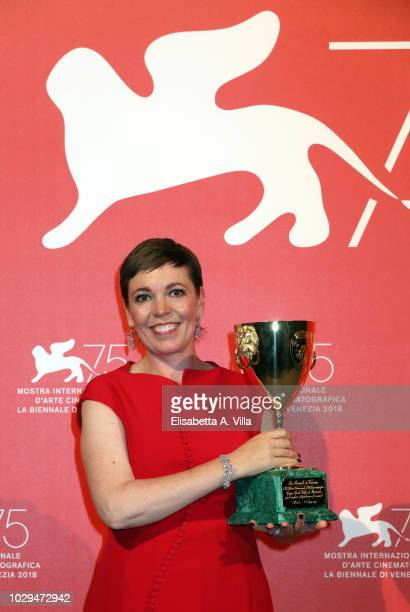 Olivia Colman poses with the Coppa Volpi for Best Actress Award for 'The Favourite' at the Winners Photocall during the 75th Venice Film Festival at...