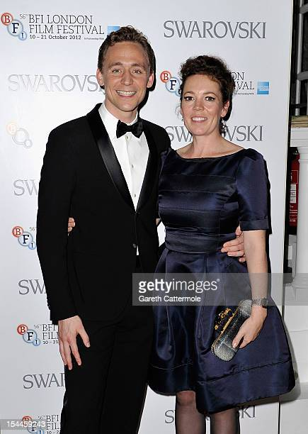 Olivia Colman poses with Tom Hiddleston during the 56th BFI London Film Festival Awards at the Banqueting House on October 20 2012 in London England
