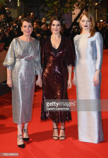 Olivia Colman Rachel Weisz and Emma Stone attend the UK Premiere of The Favourite American Express Gala at the 62nd BFI London Film Festival on...