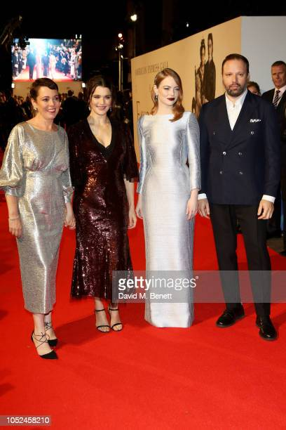 Olivia Colman Rachel Weisz Emma Stone and Yorgos Lanthimos attend the UK Premiere of The Favourite American Express Gala at the 62nd BFI London Film...