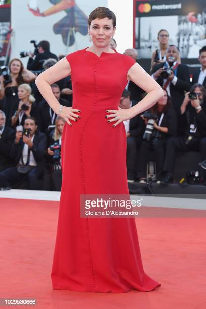Olivia Colman walks the red carpet ahead of the Award Ceremony during the 75th Venice Film Festival at Sala Grande on September 8 2018 in Venice Italy