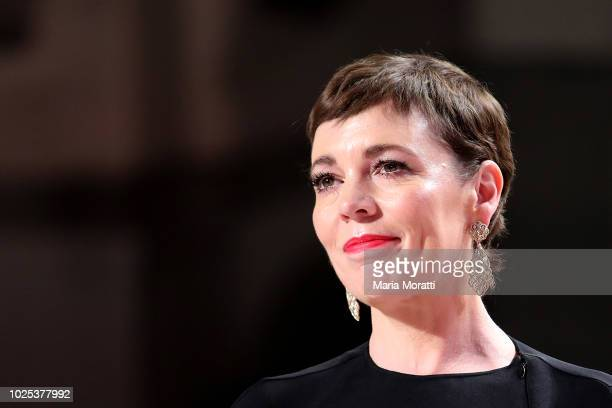 Olivia Colman walks the red carpet ahead of the 'The Favourite' screening during the 75th Venice Film Festival at Sala Grande on August 30, 2018 in...