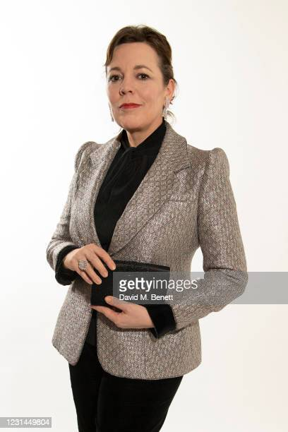 Olivia Colman, wearing Armani Prive, virtually attends the 78th Golden Globe Awards from the Rosewood London on February 28, 2021 in London, England.