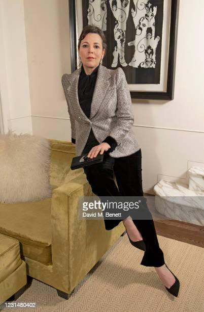 Olivia Colman, wearing Armani Prive, virtually attends the Golden Globe Awards from the Rosewood London on February 28, 2021 in London, England.