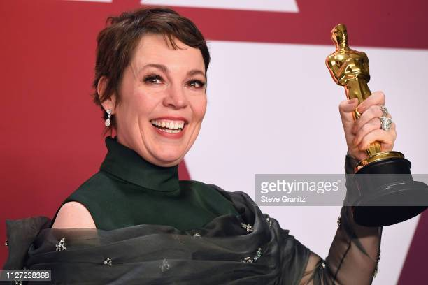 Olivia Colman winner Best Actress award for the film 'The Favourite' poses in the press room during at Hollywood and Highland on February 24 2019 in...