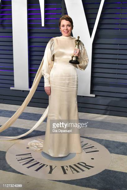 Olivia Colman, winner of Best Actress for 'The Favourite', attends the 2019 Vanity Fair Oscar Party hosted by Radhika Jones at Wallis Annenberg...