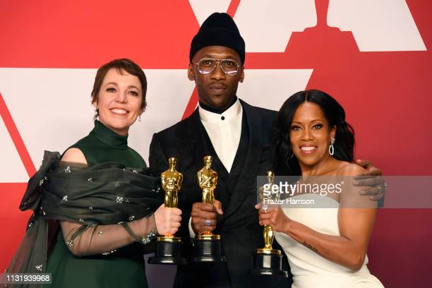 Olivia Colman winner of Best Actress for The Favourite Mahershala Ali winner of Best Supporting Actor for Green Book and Regina King winner of Best...