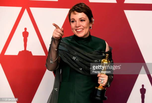 Olivia Colman winner of Best Actress for The Favourite poses in the press room during the 91st Annual Academy Awards at Hollywood and Highland on...