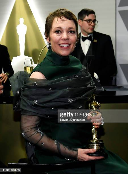 Olivia Colman, winner of Best Actress for 'The Favourite,' poses in the press room during the 91st Annual Academy Awards at Hollywood and Highland on...