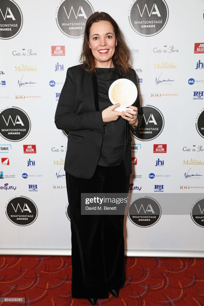 Olivia Colman, winner of the Best Actress In A Play award for 'Mosquitoes', poses in the press room at the 18th Annual WhatsOnStage Awards at the Prince Of Wales Theatre on February 25, 2018 in London, England.