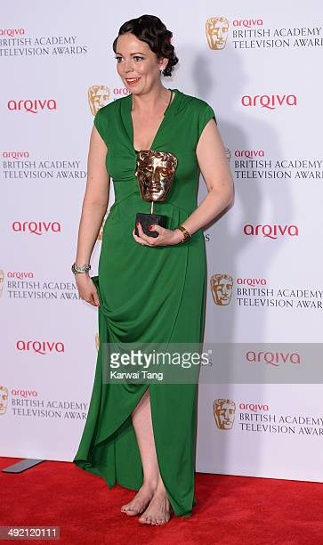 Olivia Colman with the Leading Actress Award for Broadchurch at the Arqiva British Academy Television Awards held at the Theatre Royal on May 18 2014...