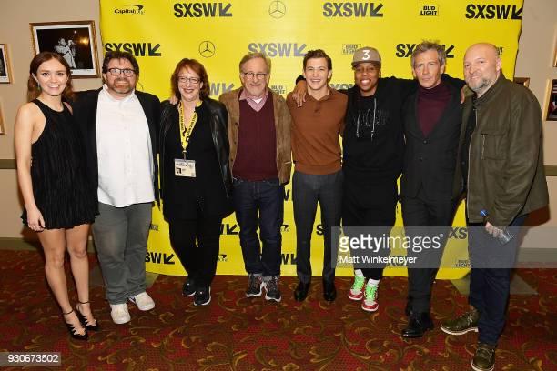 Olivia Cook Ernest Cline SXSW Film Festival Director Janet Pierson Steven Spielberg Tye Sheridan Lena Waithe Ben Mendelsohn and Zak Penn attend...