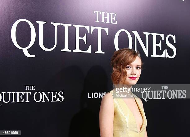 Olivia Cooke arrives at the Los Angeles Premiere of 'The Quiet Ones' held at The Theatre at Ace Hotel on April 22 2014 in Los Angeles California