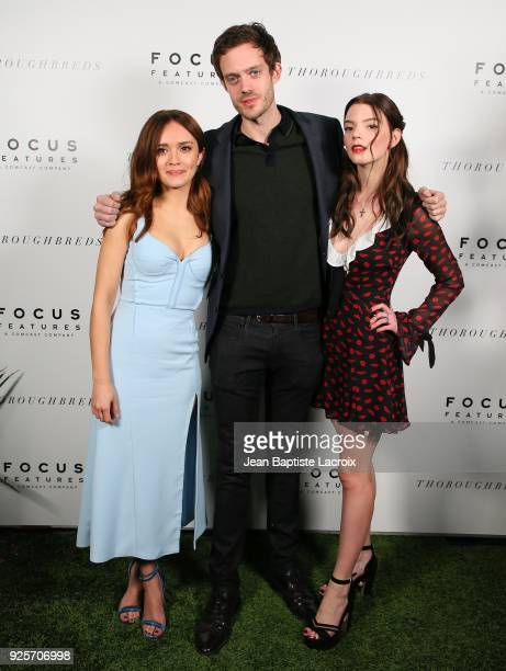 Olivia Cooke Cory Finley and Anya TaylorJoy attend the Focus Features' 'Thoroughbreds' premiere on February 28 2018 in Los Angeles California