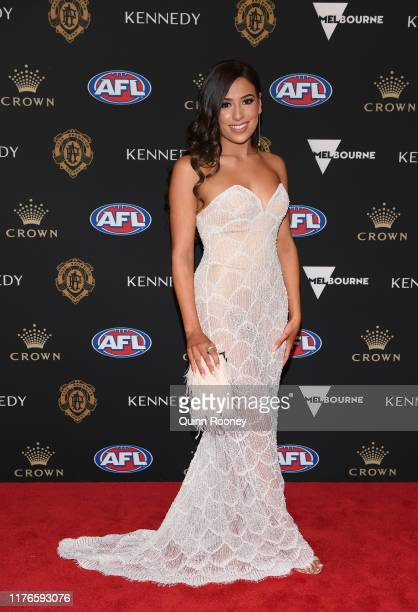Olivia Cosma arrives ahead of the 2019 Brownlow Medal at Crown Palladium on September 23 2019 in Melbourne Australia