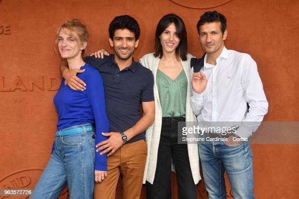 Olivia Cote Salim Kechiouche Marine Thierry and Kamel Belghazi attend the 2018 French Open Day three at Roland Garros on May 29 2018 in Paris France