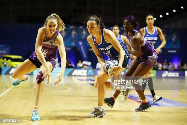 Olivia Coughlan of the Northern Stars competes with Bailey Mes of the Mystics for the ball during the round two ANZ Premiership match between the...