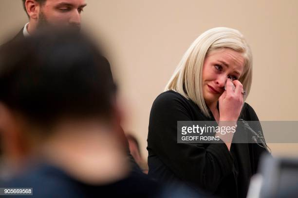 Olivia Cowa a victim of former USA Gymnastics doctor Larry Nassar gives her victim impact statement during his sentencing hearing in Lansing Michigan...