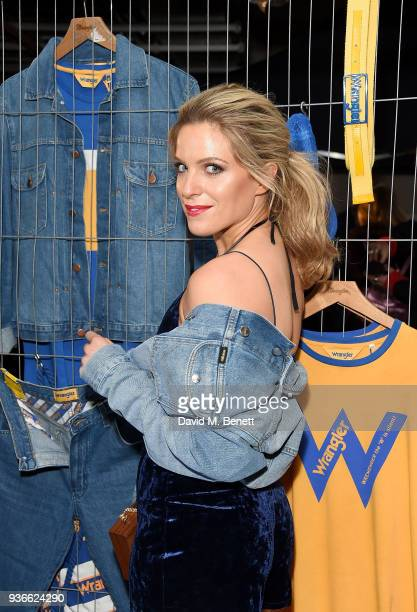 Olivia Cox attends the Wrangler Revival Blue Yellow event at Poland Street Car Park on March 22 2018 in London England