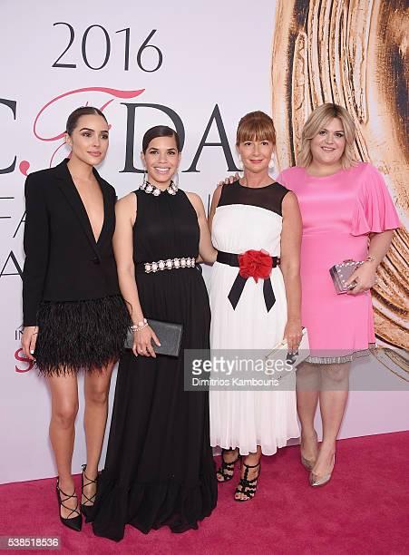 Olivia Culpo, America Ferrera, Deborah Lloyd, and Nicolette Mason attends= the 2016 CFDA Fashion Awards at the Hammerstein Ballroom on June 6, 2016...
