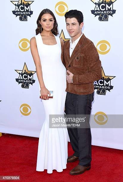 Olivia Culpo and singer/actor Nick Jonas attend the 50th Academy of Country Music Awards at ATT Stadium on April 19 2015 in Arlington Texas