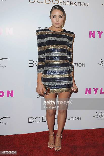 Olivia Culpo arrives at NYLON Magazine And BCBGeneration Annual May Young Hollywood Issue Party Hosted By May Cover Star Dakota Fanning at HYDE...