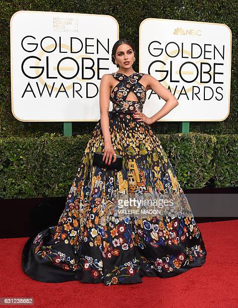 Olivia Culpo arrives at the 74th annual Golden Globe Awards January 8 at the Beverly Hilton Hotel in Beverly Hills California / AFP / VALERIE MACON