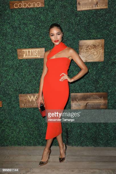 Olivia Culpo attends the 2018 Sports Illustrated Swimsuit show at PARAISO during Miami Swim Week at The W Hotel South Beach on July 15 2018 in Miami...