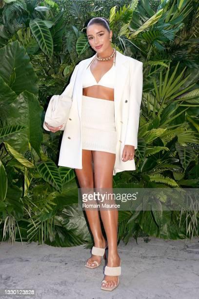 Olivia Culpo attends the CELSIUS Tropical Vibe Flavor Launch VIP Event At Baia Beach Club, Miami Beach. At Mondrian South Beach on July 22, 2021 in...