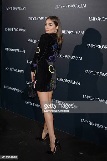 Olivia Culpo attends the Emporio Armani show as part of the Paris Fashion Week Womenswear Spring/Summer 2017on October 3, 2016 in Paris, France.