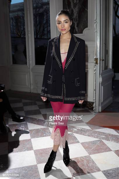 Olivia Culpo attends the John Galliano show as part of the Paris Fashion Week Womenswear Fall/Winter 2018/2019 on March 4 2018 in Paris France