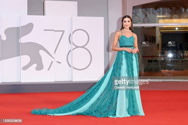 """Olivia Culpo attends the red carpet of the movie """"America Latina"""" during the 78th Venice International Film Festival on September 09, 2021 in Venice,..."""