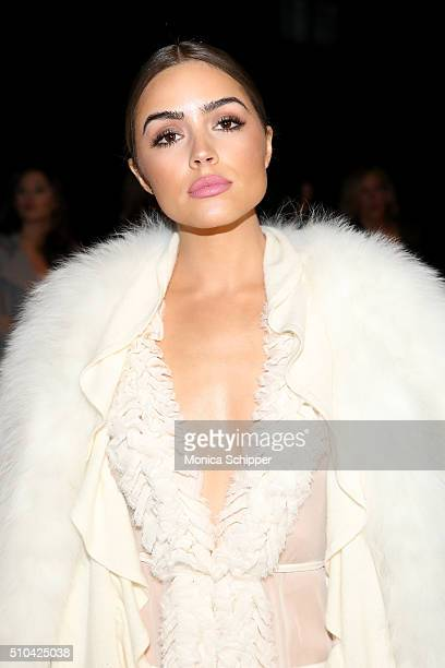 Olivia Culpo attends the Thomas Wylde Fall 2016 fashion show during New York Fashion Week The Shows at The Dock Skylight at Moynihan Station on...