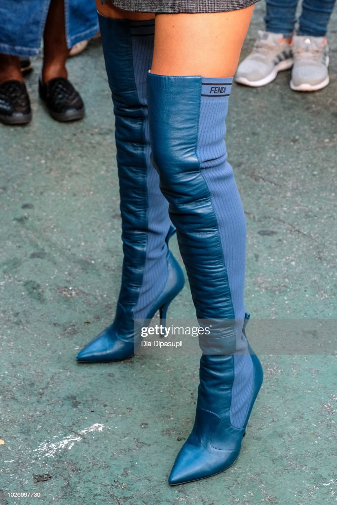 Olivia Culpo, boot detail, visits 'Extra' on September 4, 2018 in New York City.