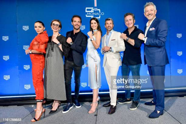 Olivia Culpo Catherine Eberle JeanEric Vergne Paulina Vega Patrick Dempsey Alejandro Agag and Andrea Soriani pose on stage during a TAG Heuer...