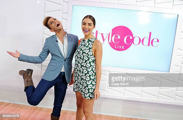 Olivia Culpo guest cohosts an episode of Amazon's Style Code Live with Frankie Grande on September 15 2016 in New York City