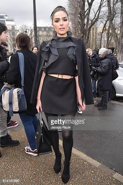 Olivia Culpo is seen arriving at Giambattista Valli Fashion show during Paris Fashion Week Womenswear Fall Winter 2016/2017 on March 7 2016 in Paris...