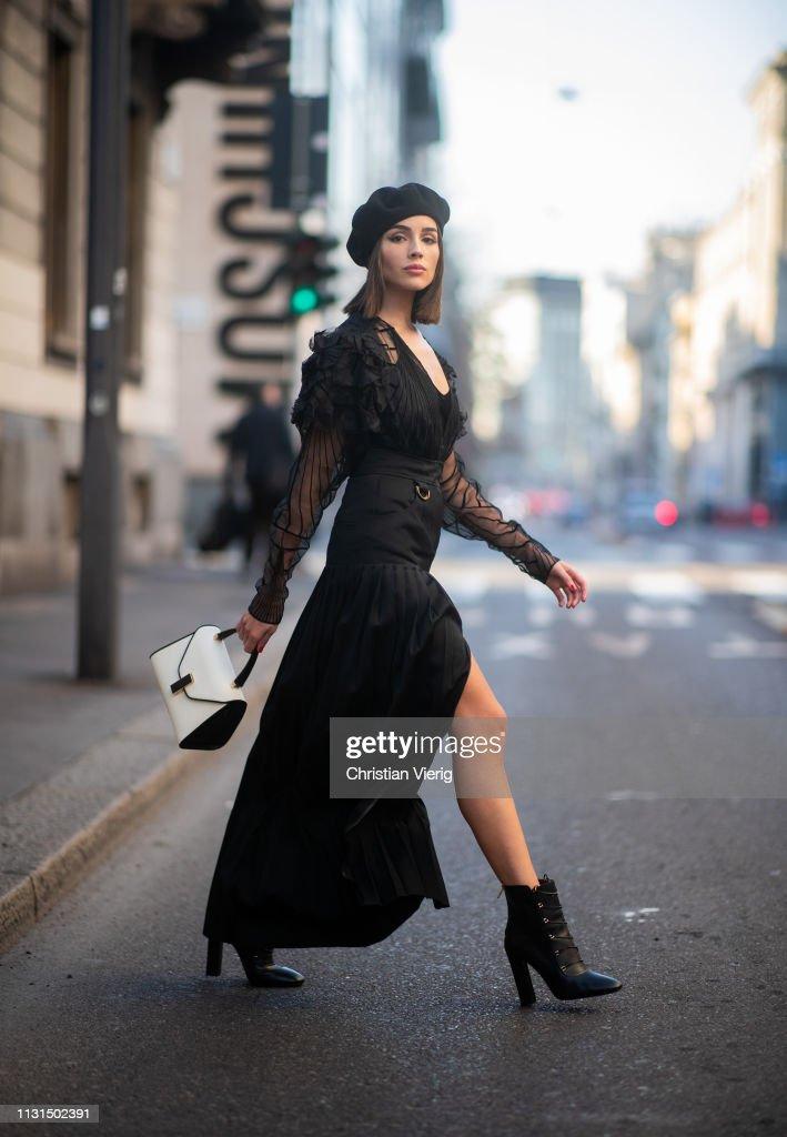 Street Style - Day 3: Milan Fashion Week Autumn/Winter 2019/20 : News Photo