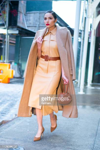 Olivia Culpo is seen wearing Fendi with Stuart Weitzman shoes and a Gabriela Hearst handbag on February 12 2019 in New York City