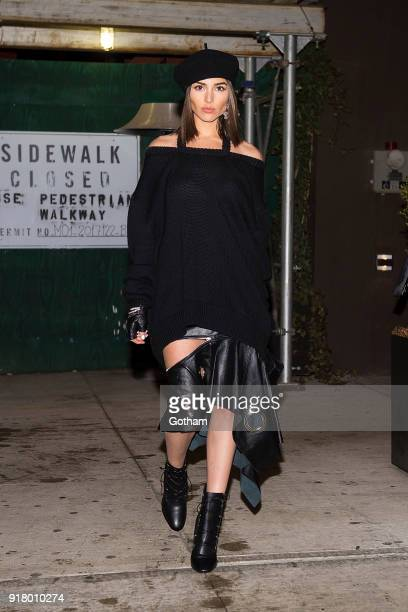 Olivia Culpo is seen wearing Monse Ferragamo shoes and handbag with a Dior hat in SoHo on February 13 2018 in New York City