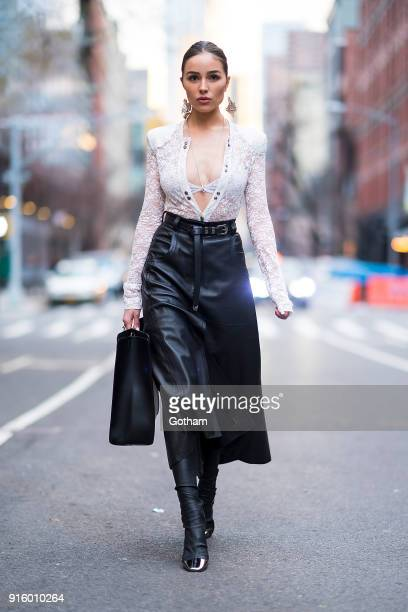 Olivia Culpo is seen wearing Nina Ricci with a Salvatore Ferragamo handbag in SoHo on February 8 2018 in New York City