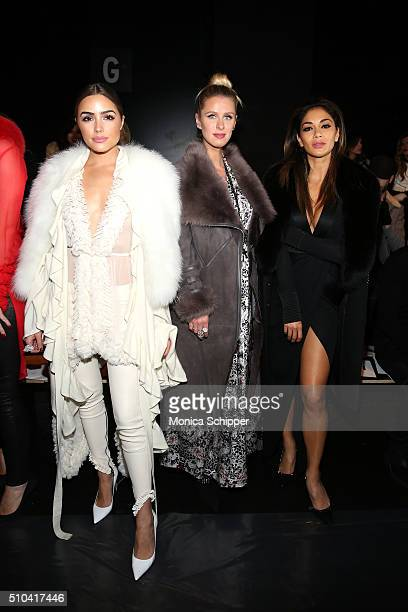 Olivia Culpo Nicky Hilton and Nicole Scherzinger attend the Thomas Wylde Fall 2016 fashion show during New York Fashion Week The Shows at The Dock...